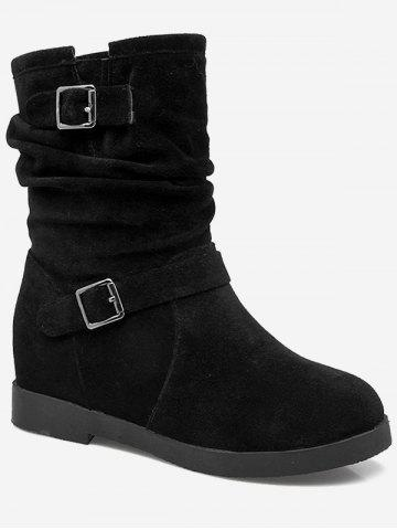 Plus Size Ruched Hidden Wedge Mid Calf Boots