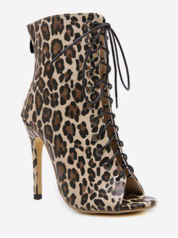 Peep Toe Lace Up Leopard Boots