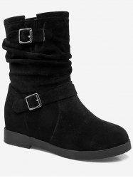 Plus Size Ruched Hidden Wedge Mid Calf Boots -