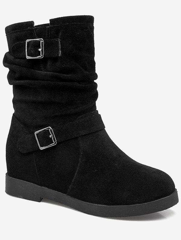 Trendy Plus Size Ruched Hidden Wedge Mid Calf Boots
