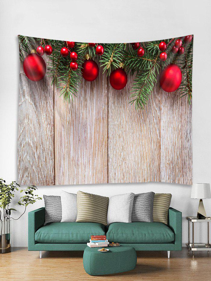 Shop Wooden Christmas Ball Pattern Tapestry Art Decoration