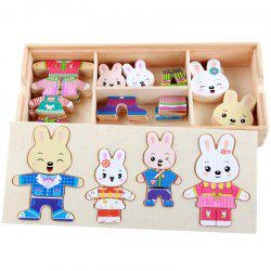 Wooden Cartoon Four Little Rabbits Changing Clothes Puzzle -