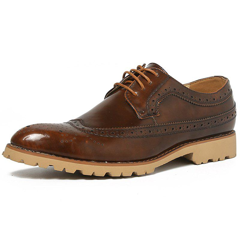 Affordable Men Casual Carved Retro Leather Shoes Business