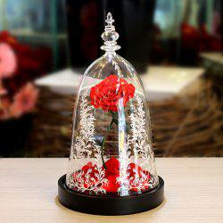 LED Everlasting Flower Glass Cover Valentine's Day Rose Gift -