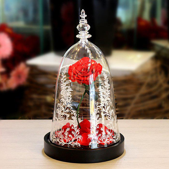 Latest LED Everlasting Flower Glass Cover Valentine's Day Rose Gift