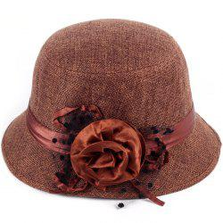 Pure Color Linen with Flower Top Hat -