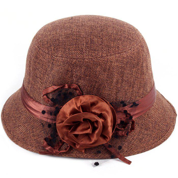 Online Pure Color Linen with Flower Top Hat