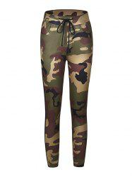 Camouflage Printed Color Tight-fitting Casual 9 Pants -