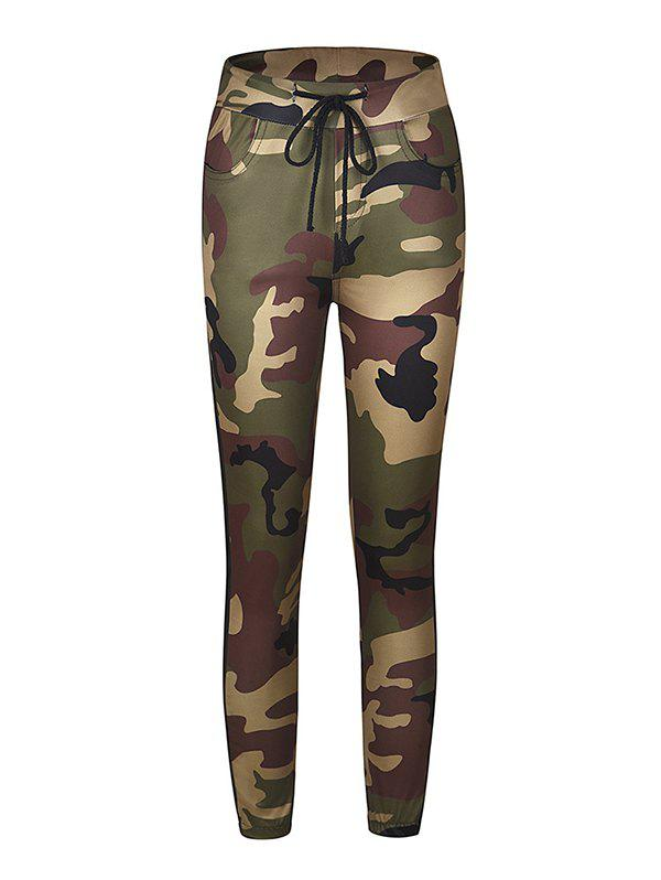 Affordable Camouflage Printed Color Tight-fitting Casual 9 Pants