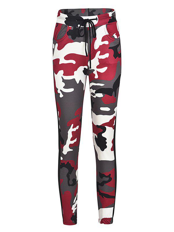 Unique Camouflage Printed Color Tight-fitting Casual 9 Pants