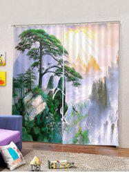 2PCS Mountain Crane Design Window Curtains -