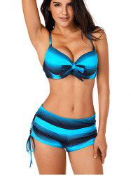 Large Size Steel Ring Gathered Low Waist Swimsuit -