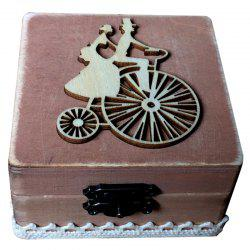JM00280 Wooden Cycling Couple Square Ring Box -