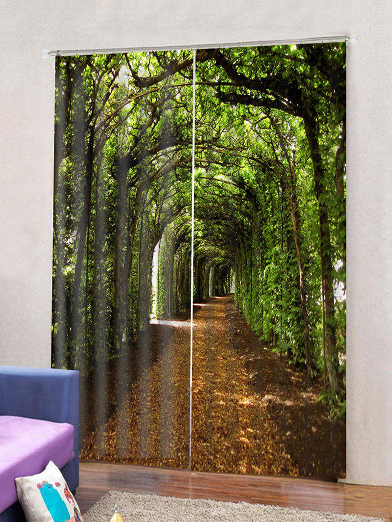 Chic 2PCS 3D Tree Design Window Curtains