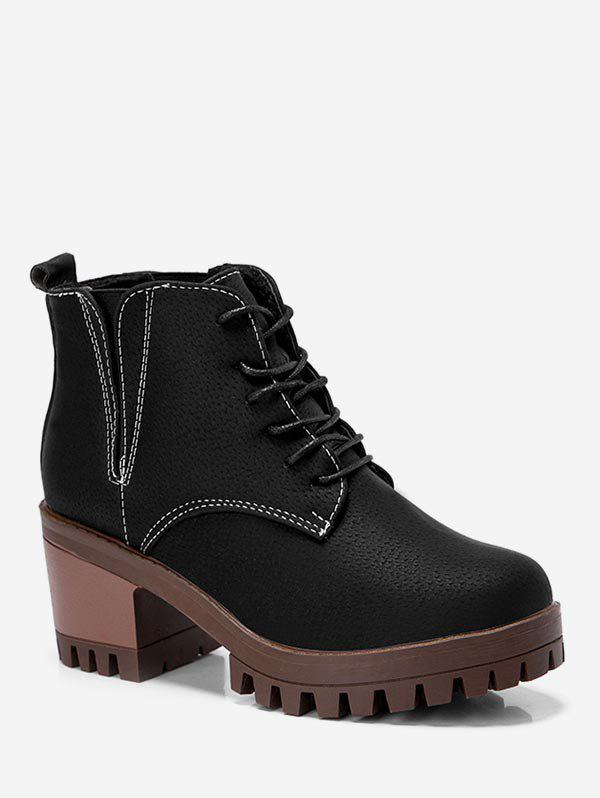Store Platform Chunky Heel Lacing Boots