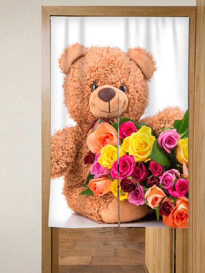 Hot Flower Bear Door Curtain