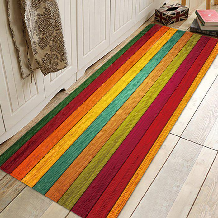 Online Printed Colorful Wood Pattern Anti-slip Floor Mat for Living Room Bathroom Kitchen