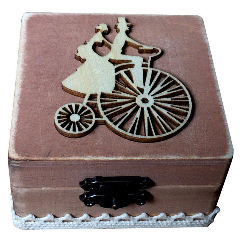 Chic JM00280 Wooden Cycling Couple Square Ring Box