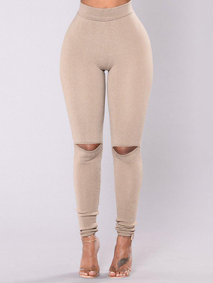 Shop Sexy Fashion Stitching Knee-breaking Yoga Pants