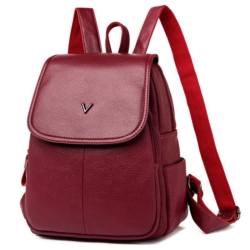 New Shengtong3006 Casual Fashion Solid Color Lychee Ladies Backpack