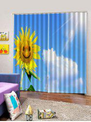 2PCS Sunflower Sky Pattern Window Curtains -