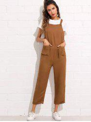 Women's Strap Button Cropped Solid Color Pocket Casual Jumpsuit -