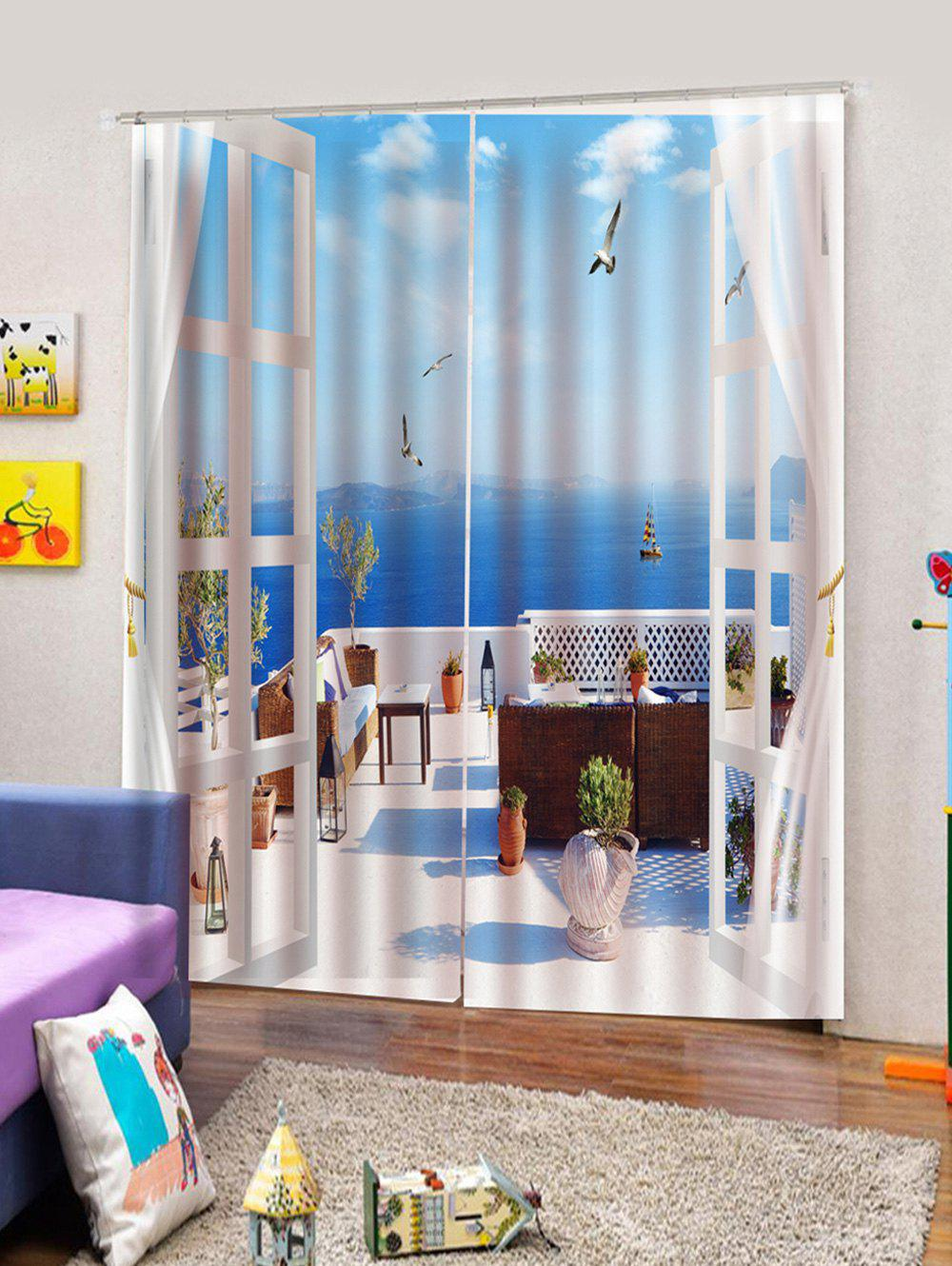 Outfit 2PCS Window Scene Printed Window Curtains