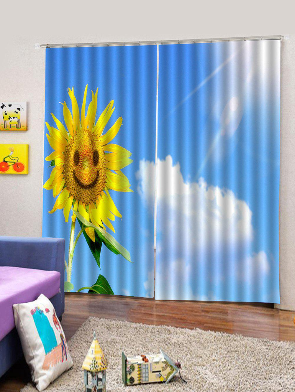 Outfit 2PCS Sunflower Sky Pattern Window Curtains