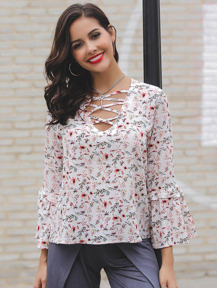 Best Women's Sexy V-neck Cross Print Loose Trumpet Sleeve Blouse