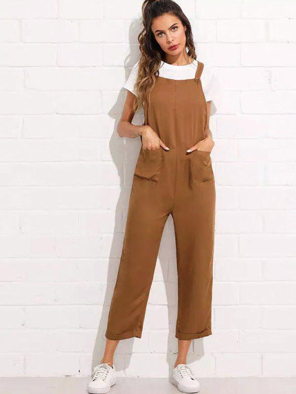 Shop Women's Strap Button Cropped Solid Color Pocket Casual Jumpsuit