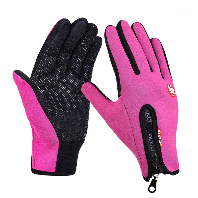Shop Winter Waterproof Windproof Touch Screen Silicone Anti-skid Zipper Fleece Warm Gloves