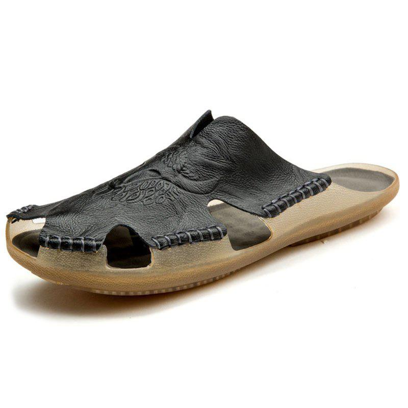 Chic Large Size Fashion Leather Beach Shoes Tide Slippers