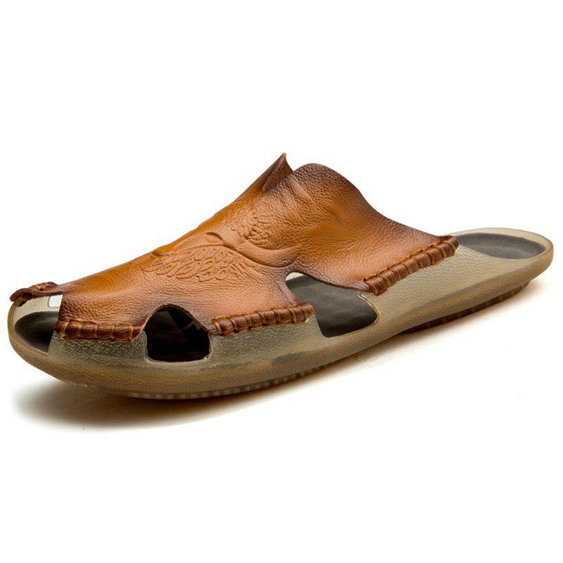 Hot Large Size Fashion Leather Beach Shoes Tide Slippers