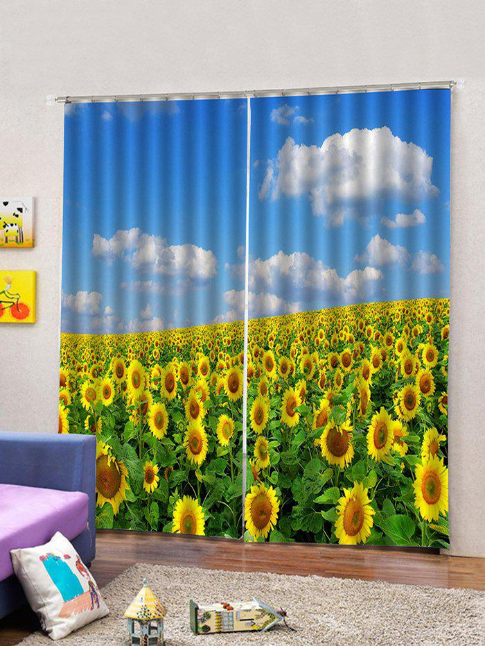 Sale 2PCS Sunflower Sky Window Curtains