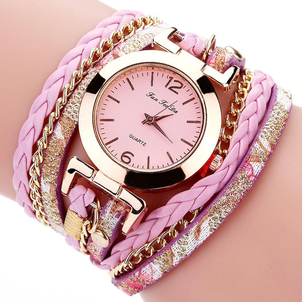 Outfit Fanteeda FD092 Women Wrap Around Leather Wrist Watch with Chain