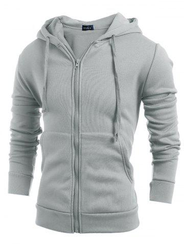 Simple Casual Hooded Coat Zipper Solid Color Jacket