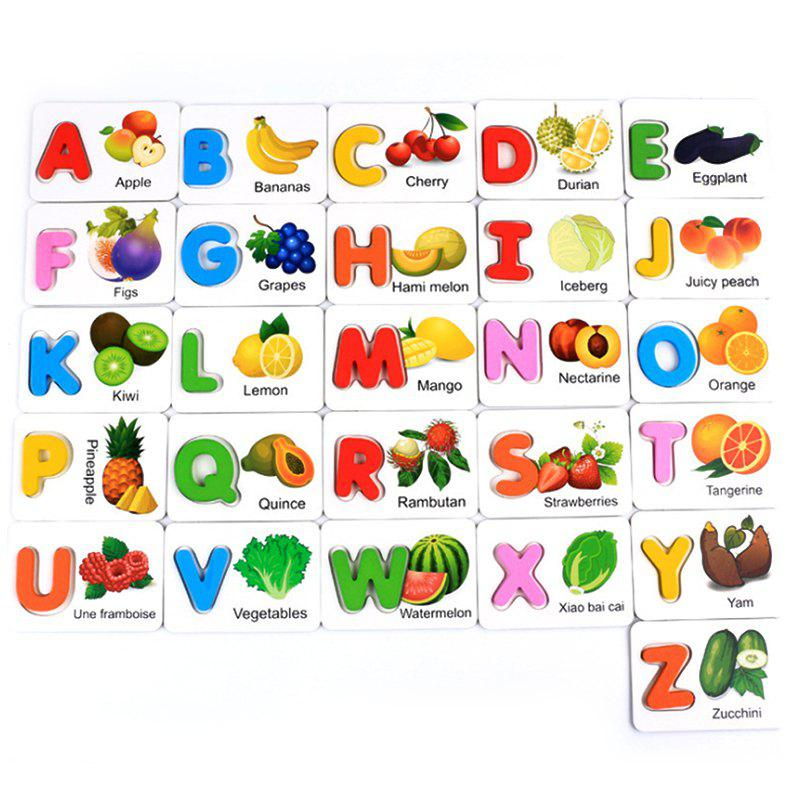 Cheap 52PCS Children Early Learning English Alphabet Wood Recognition Picture Card Toys