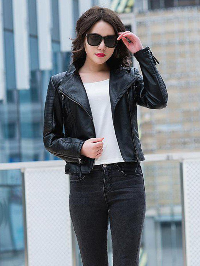 38da66e8c3 40% OFF] Women's Wear New PU Leather Jacket Slim Motorcycle Jacket ...