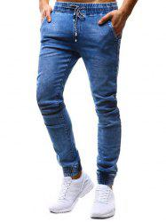 K99 Men's Pants Classic Loose Tether Elastic Casual Jeans -