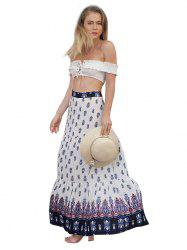Women's Personality Pleated Bohemian Print Large Swinged Skirt -