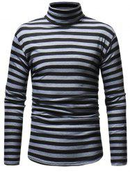 Striped Men's Casual High Collar Striped Long-sleeved T-shirt -