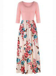 Women's Dress Holiday Style Round Neck Print Color Blocking -