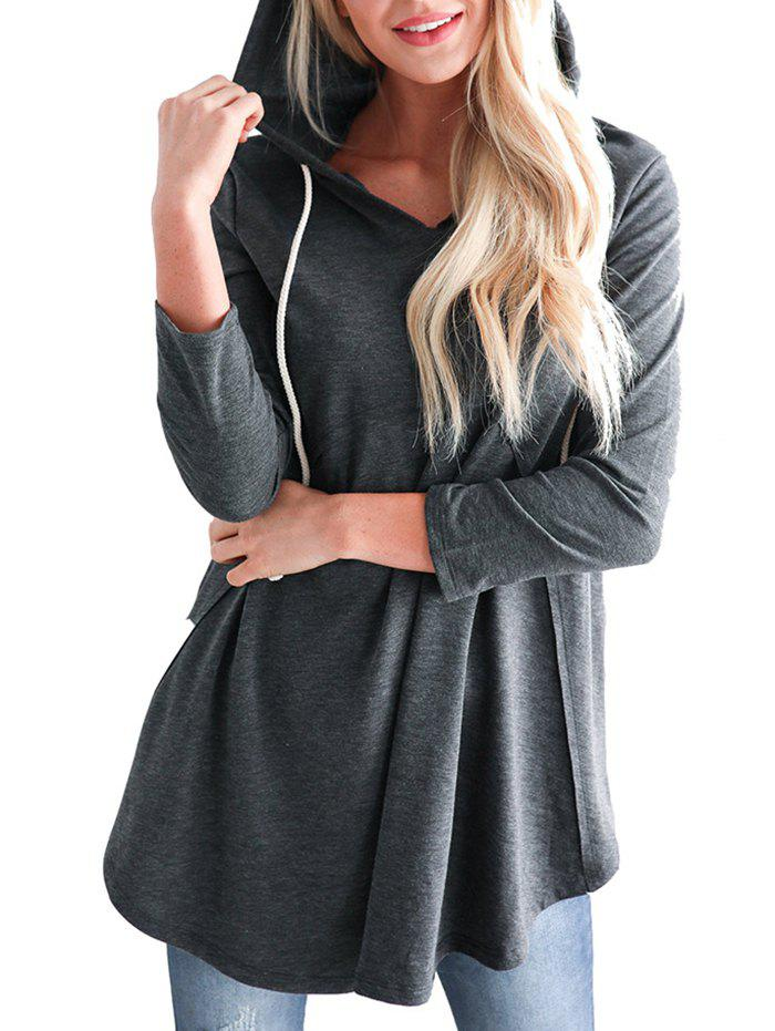 Outfit Solid Color Stitching Hooded Sweatshirt