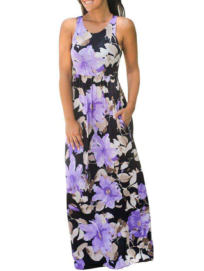Affordable Women Round Neck Print Sleeveless High Waist Dress