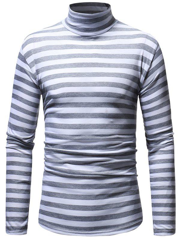 Discount Striped Men's Casual High Collar Striped Long-sleeved T-shirt