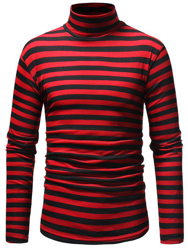 Hot Striped Men's Casual High Collar Striped Long-sleeved T-shirt