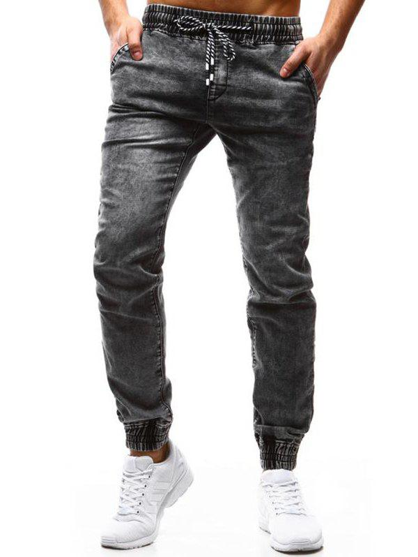 Shops K99 Men's Pants Classic Loose Tether Elastic Casual Jeans