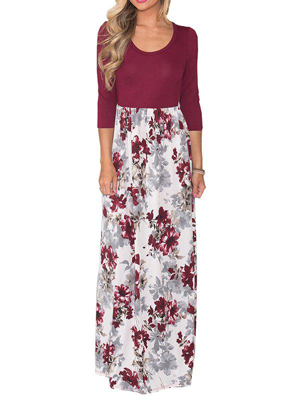 Shops Women's Dress Holiday Style Round Neck Print Color Blocking