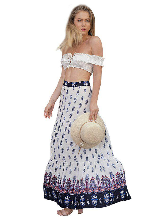 Sale Women's Personality Pleated Bohemian Print Large Swinged Skirt