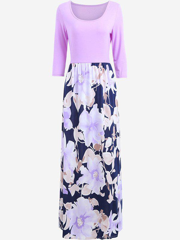 Buy Women's Dress Holiday Style Round Neck Print Color Blocking